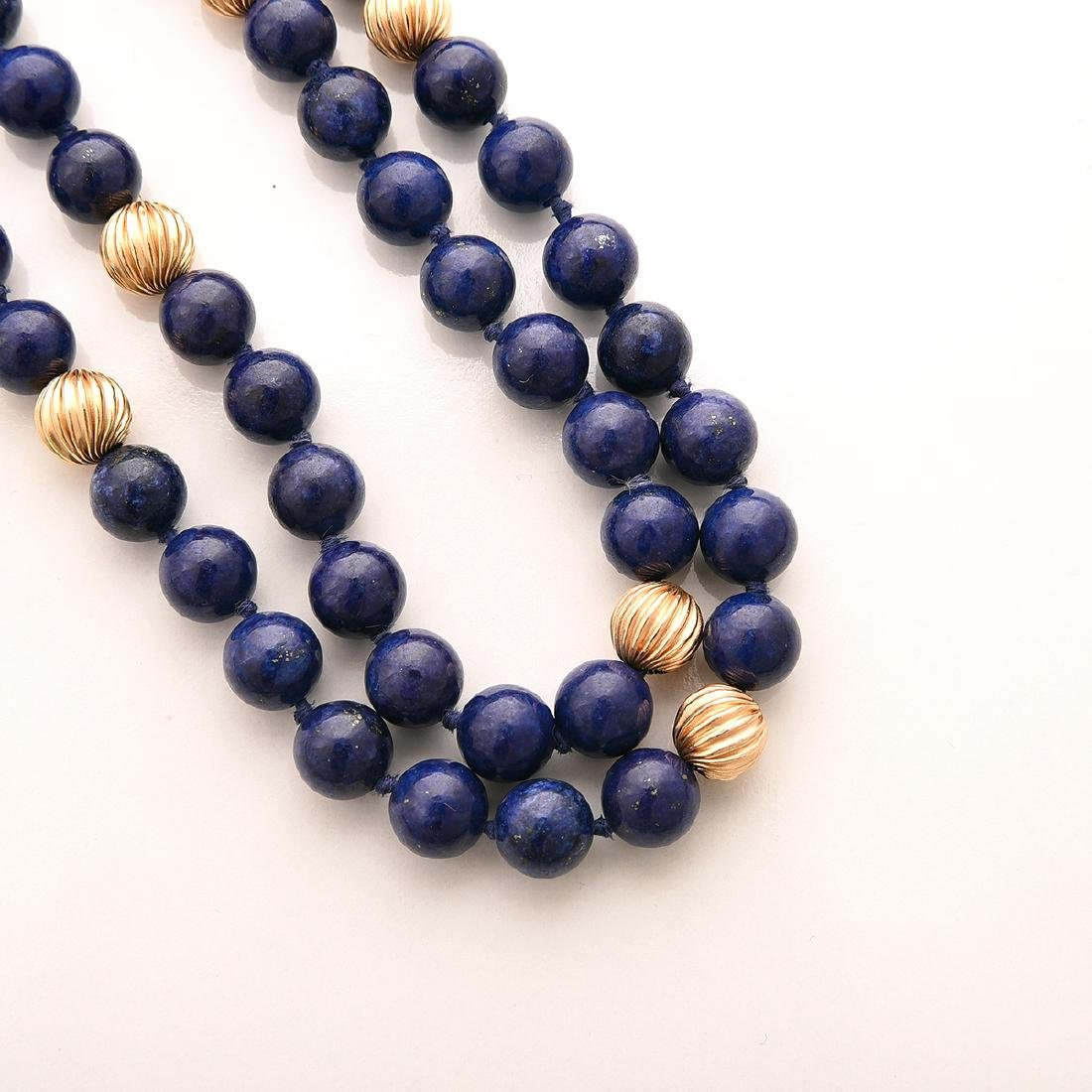 Collection of Lapis, 14k Yellow Gold Jewelry Items. - 3