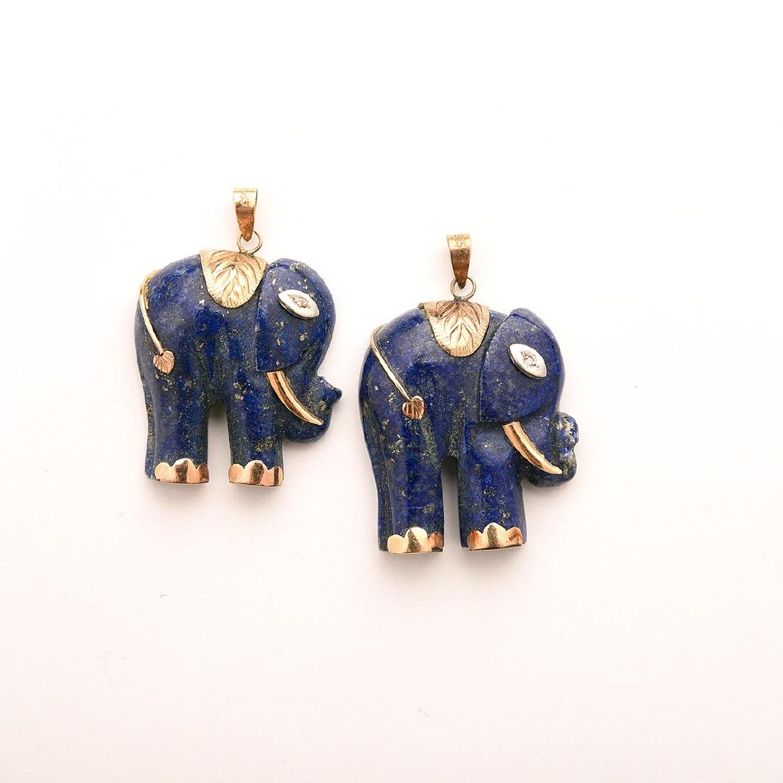 Collection of Lapis, 14k Yellow Gold Jewelry Items. - 4