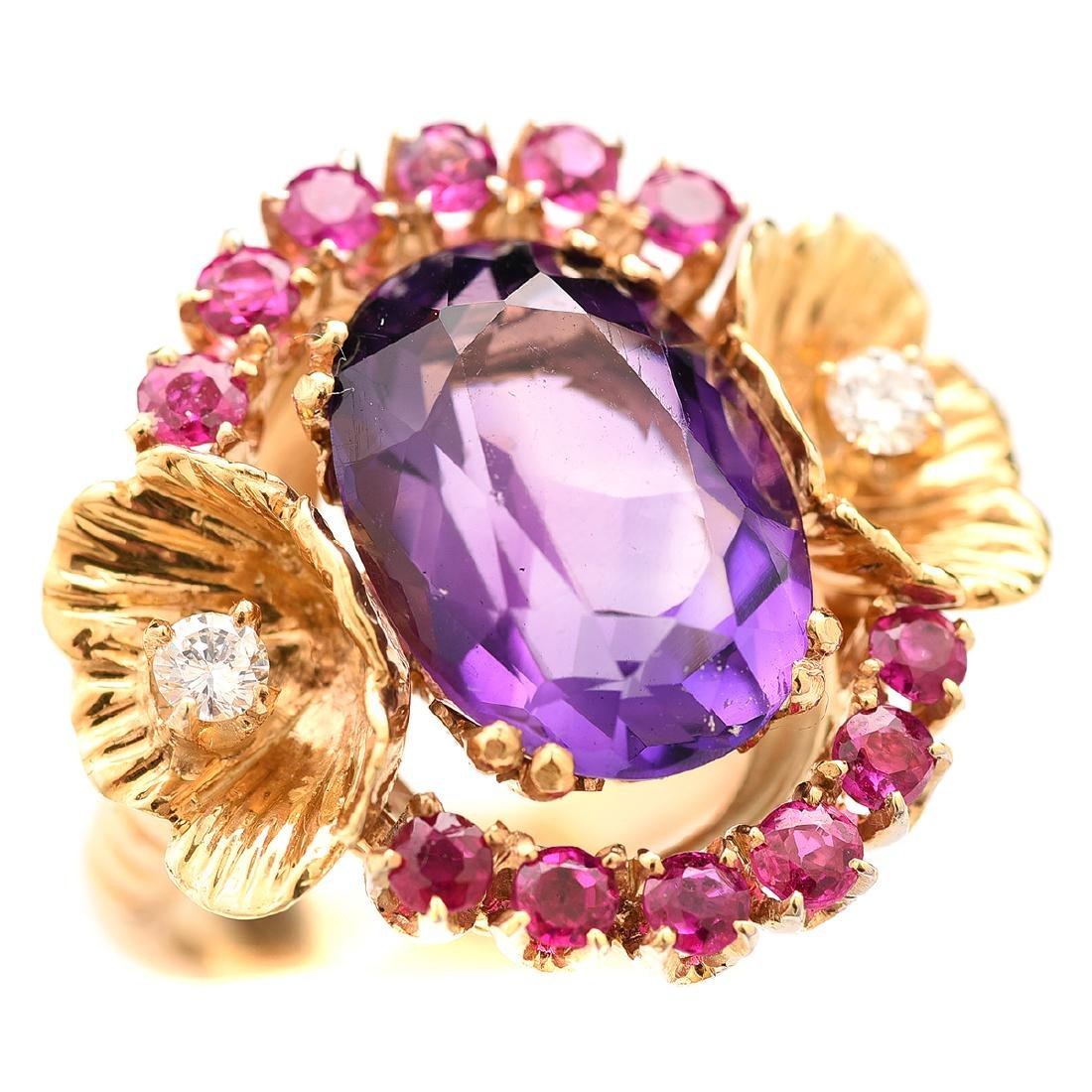 Amethyst, Ruby, Diamond, 14k Ring.