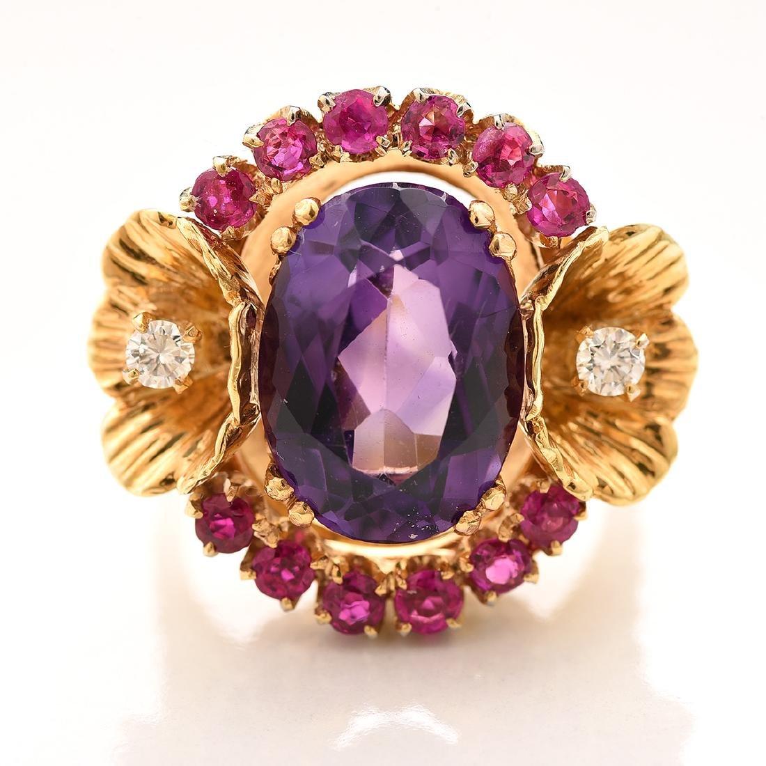 Amethyst, Ruby, Diamond, 14k Ring. - 2