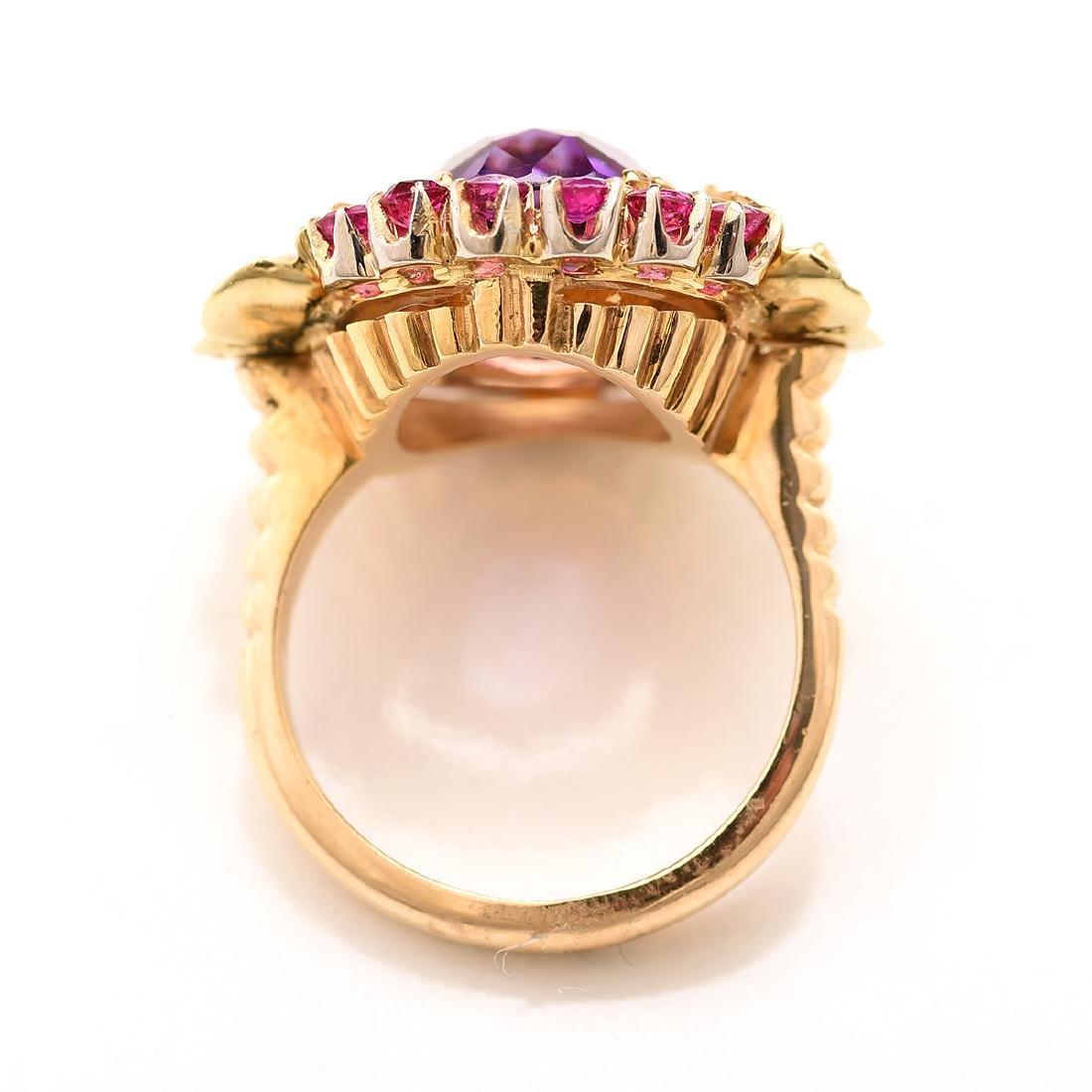 Amethyst, Ruby, Diamond, 14k Ring. - 3