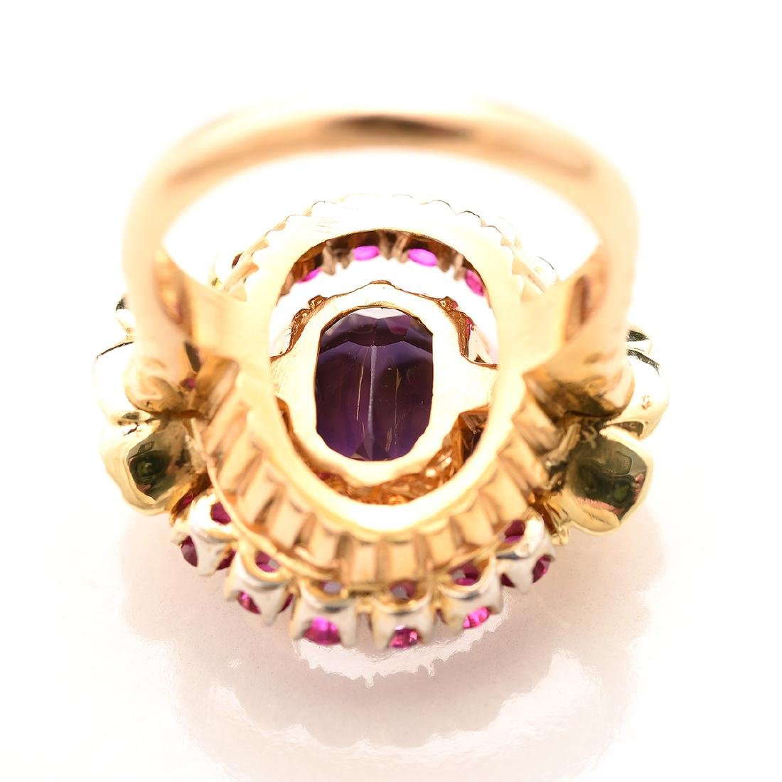 Amethyst, Ruby, Diamond, 14k Ring. - 4