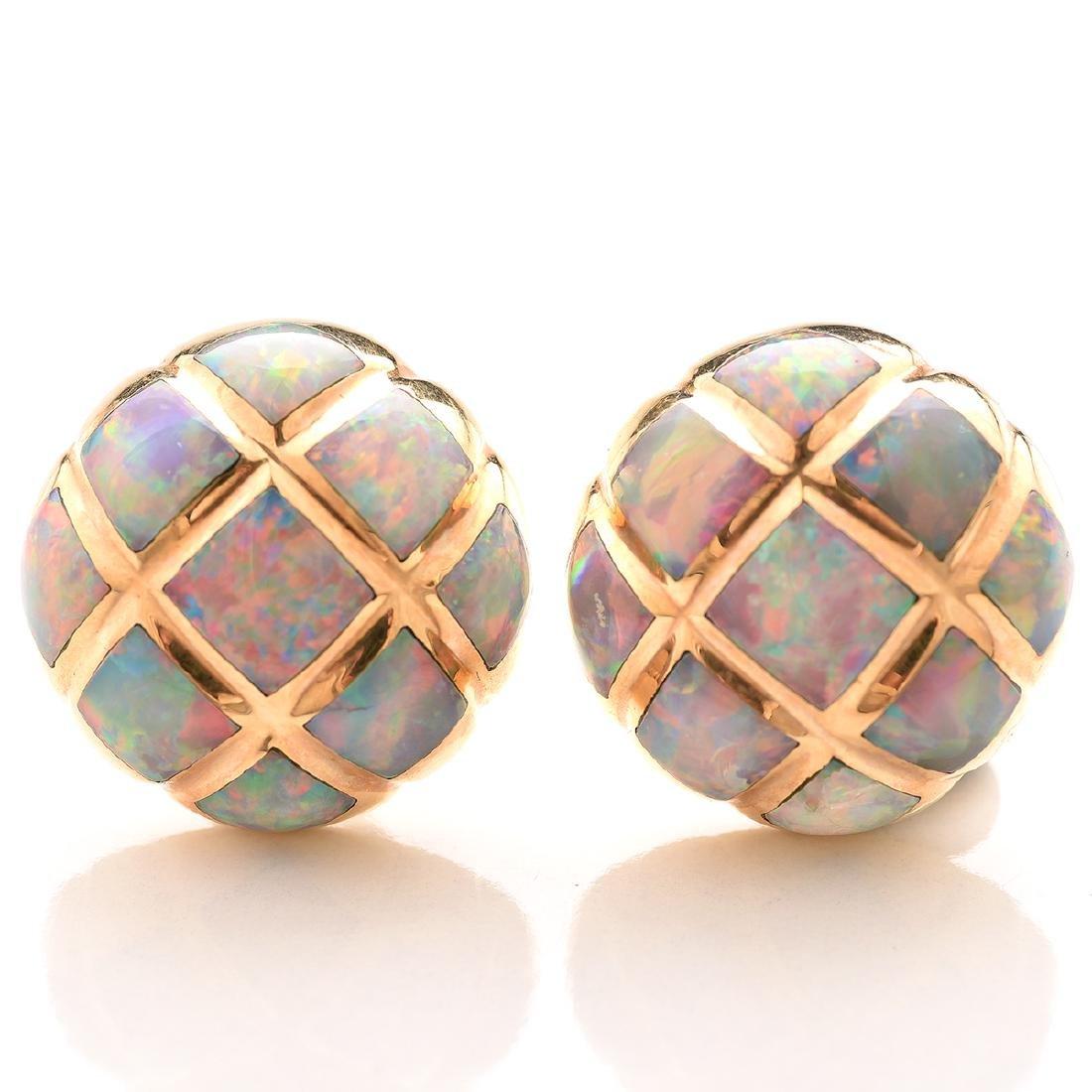 Pair of Kabana Opal, 14k Earrings.