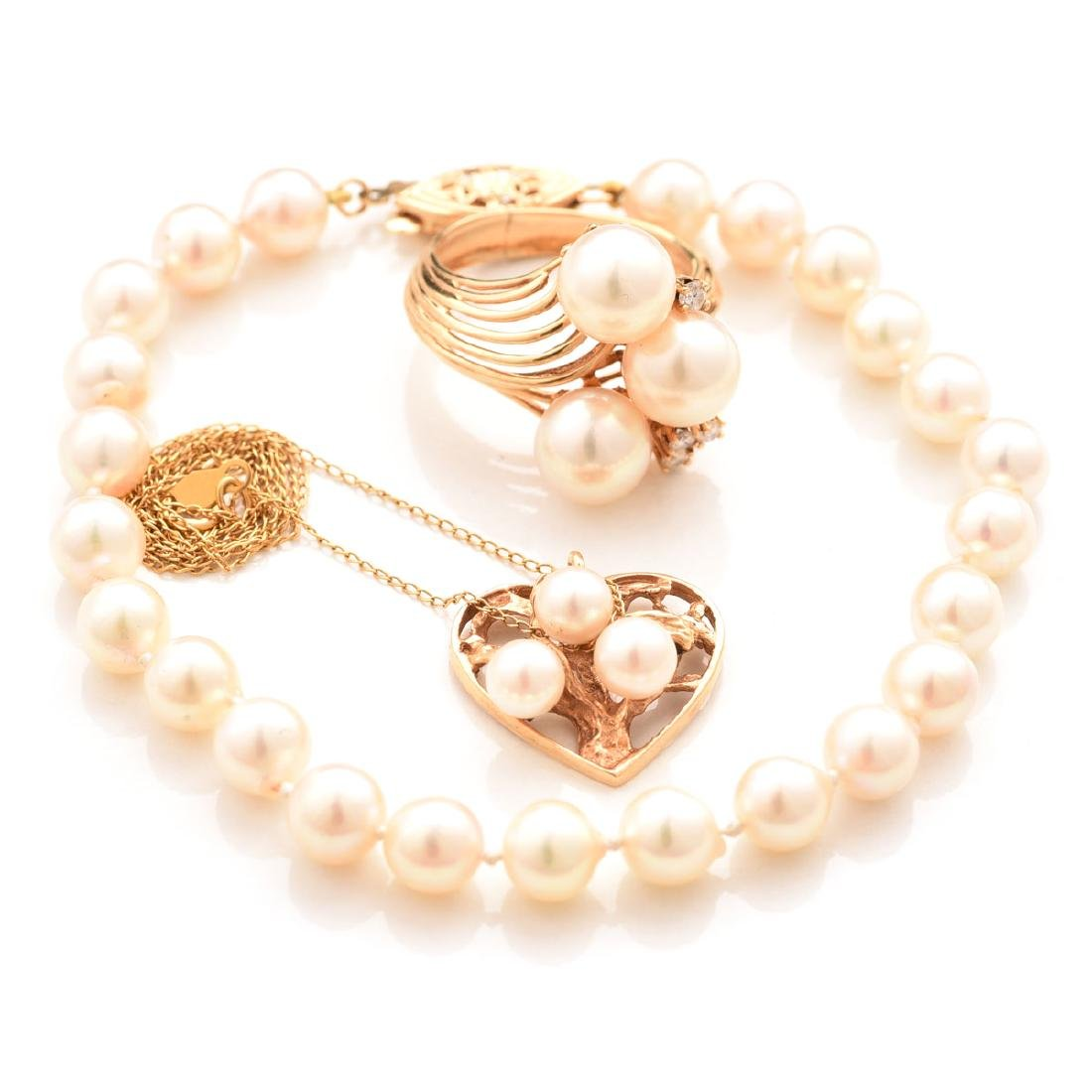 Collection of Cultured Pearl, 14k Gold Jewelry.