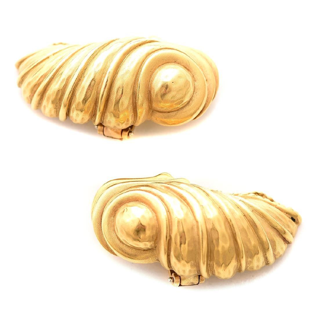 Pair of Kieselstein-Cord 18k Yellow Gold Earrings.