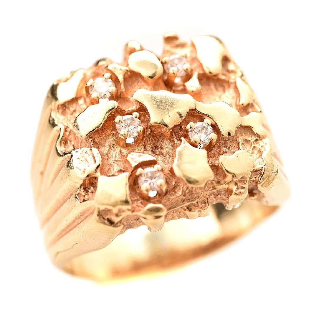 Diamond, 14k Yellow Gold Man's Ring.
