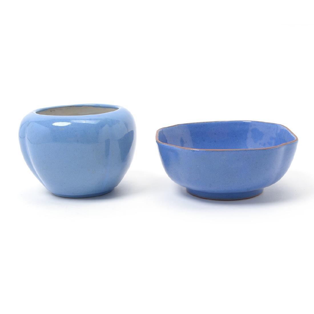 Two Blue Glazed Stoneware Bowls