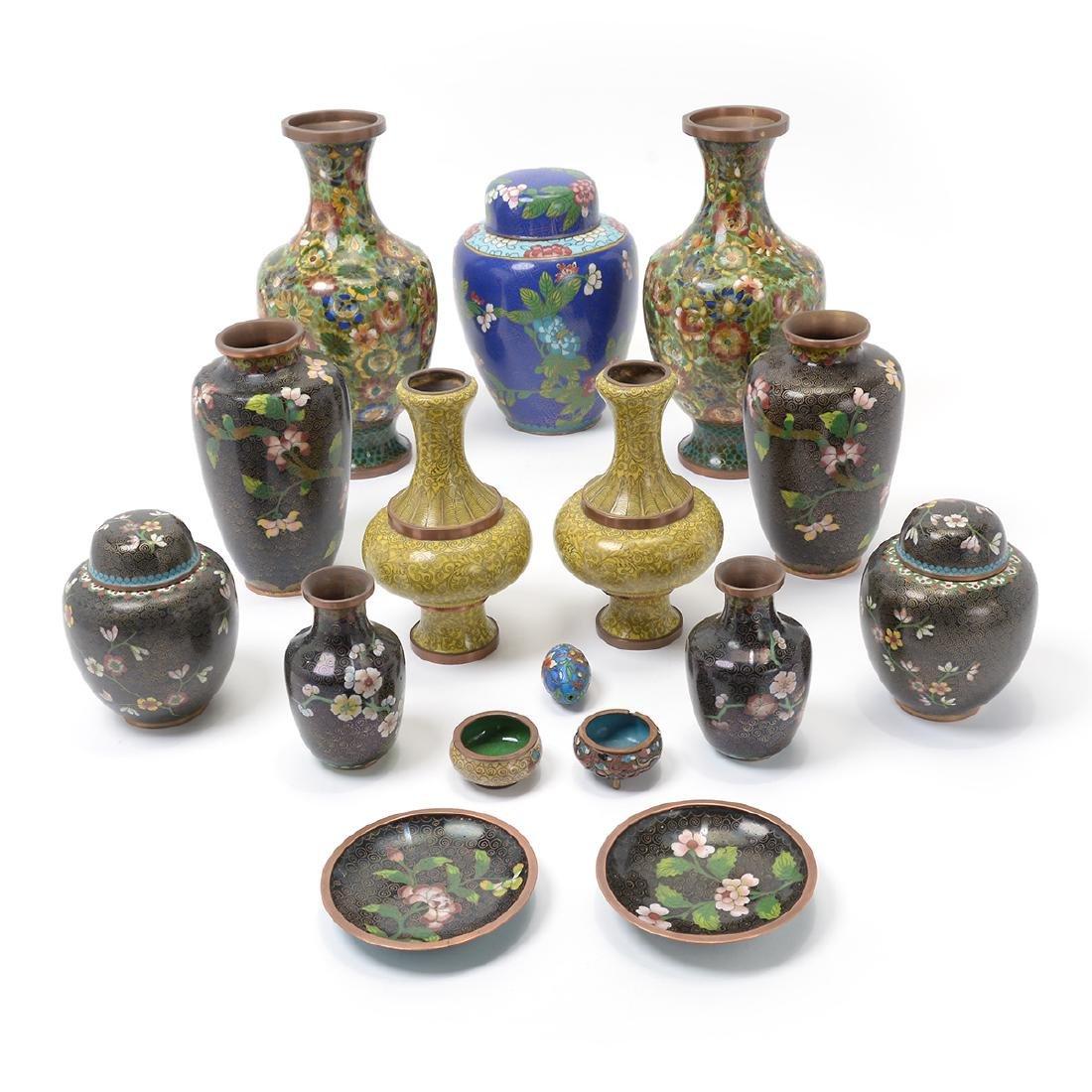 Group of Cloisonne Enamel Objects