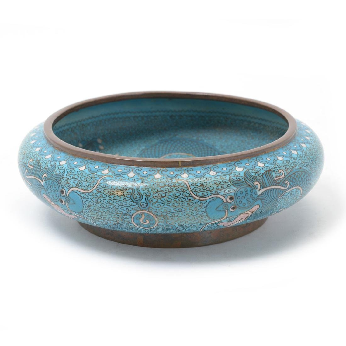 Cloisonne Enamel Blue Ground 'Dragon' Low Bowl