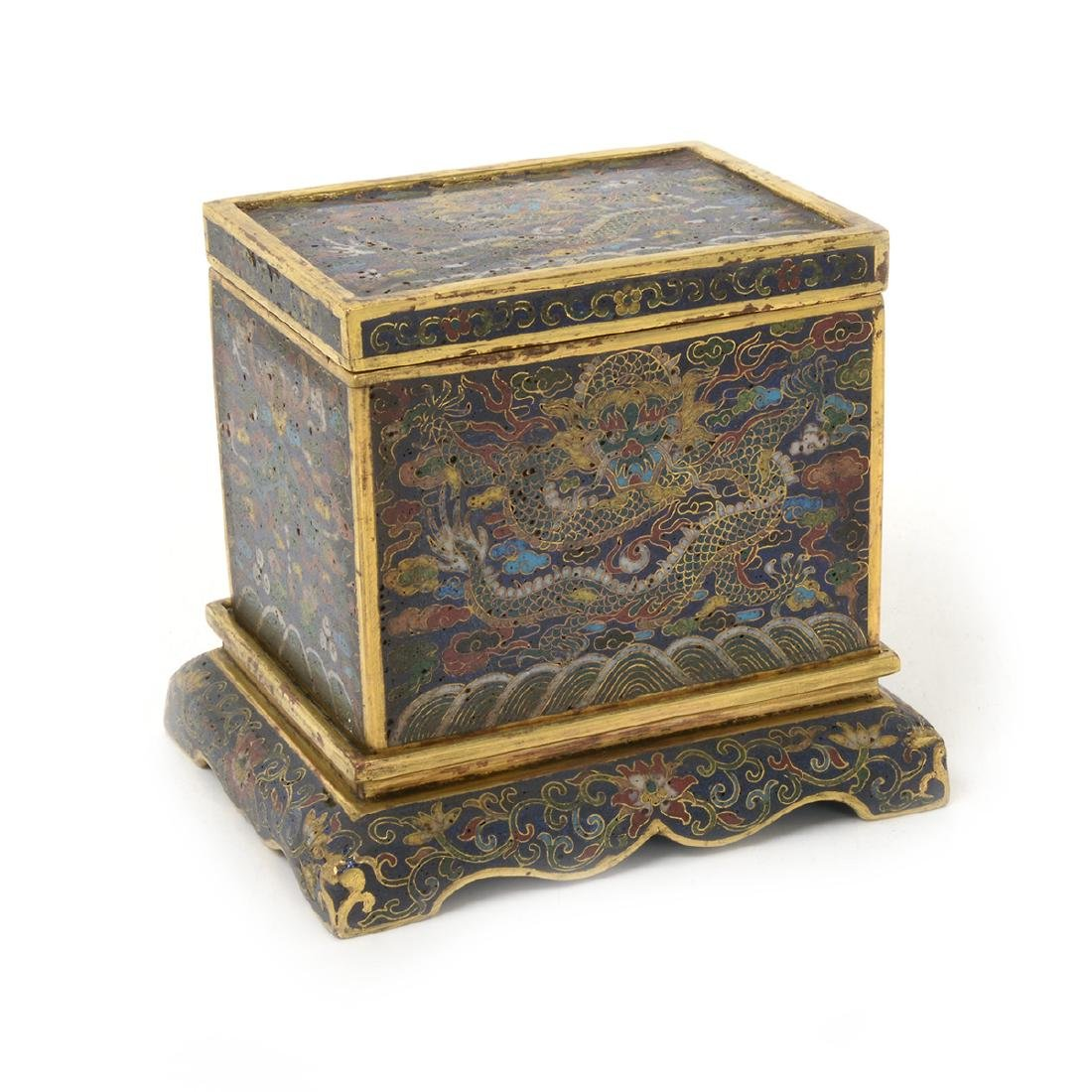 Small Cloisonne Enamel 'Dragon' Box and Stand