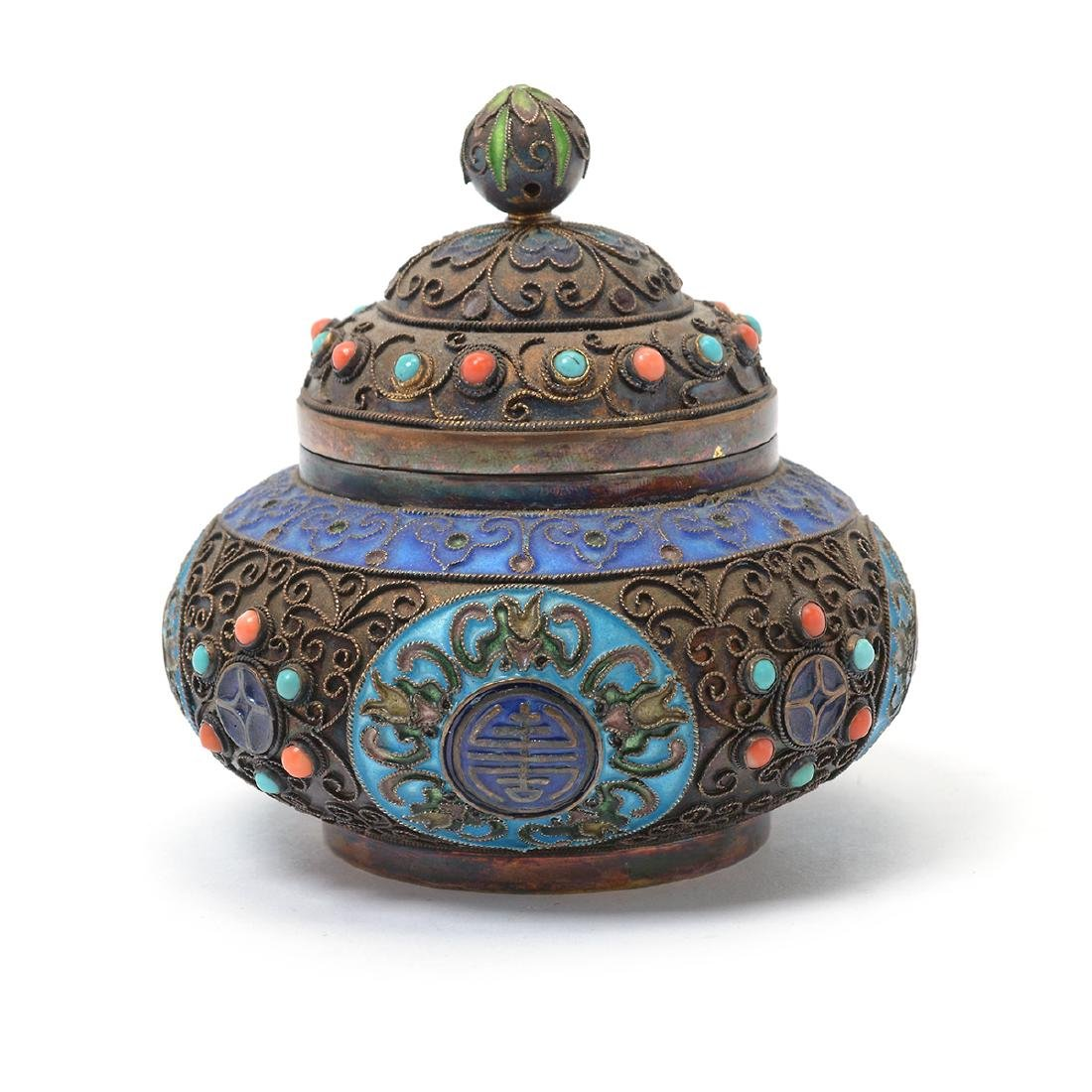 Small Enameled Silver Jar w/ Coral & Turquoise Inlay*