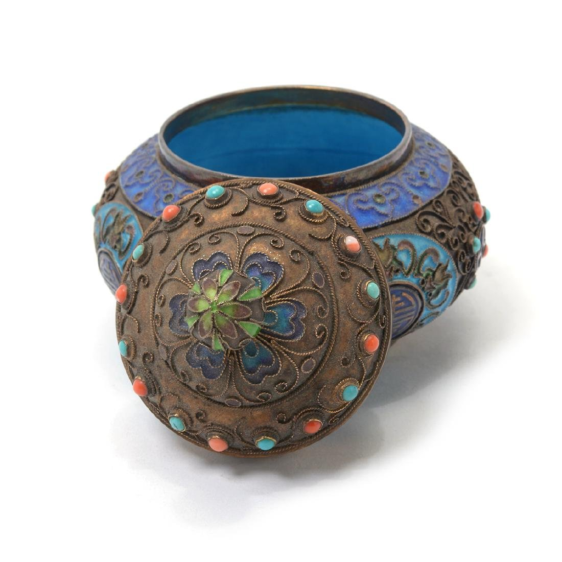 Small Enameled Silver Jar w/ Coral & Turquoise Inlay* - 4