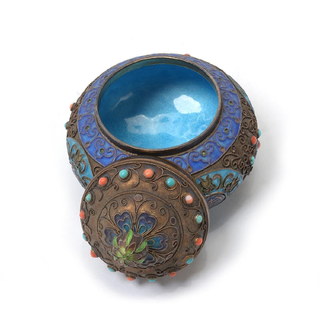 Small Enameled Silver Jar w/ Coral & Turquoise Inlay* - 5