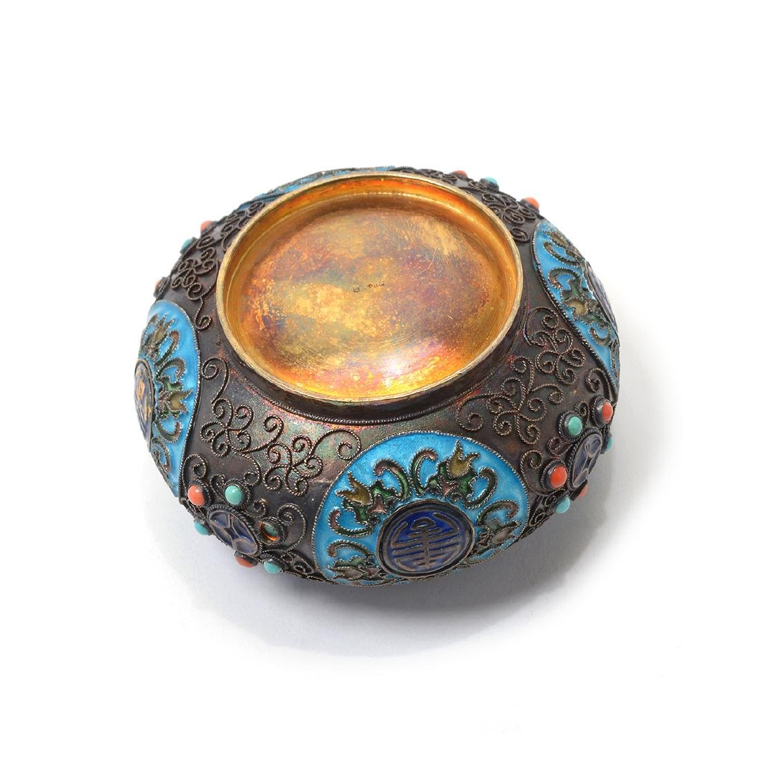 Small Enameled Silver Jar w/ Coral & Turquoise Inlay* - 6