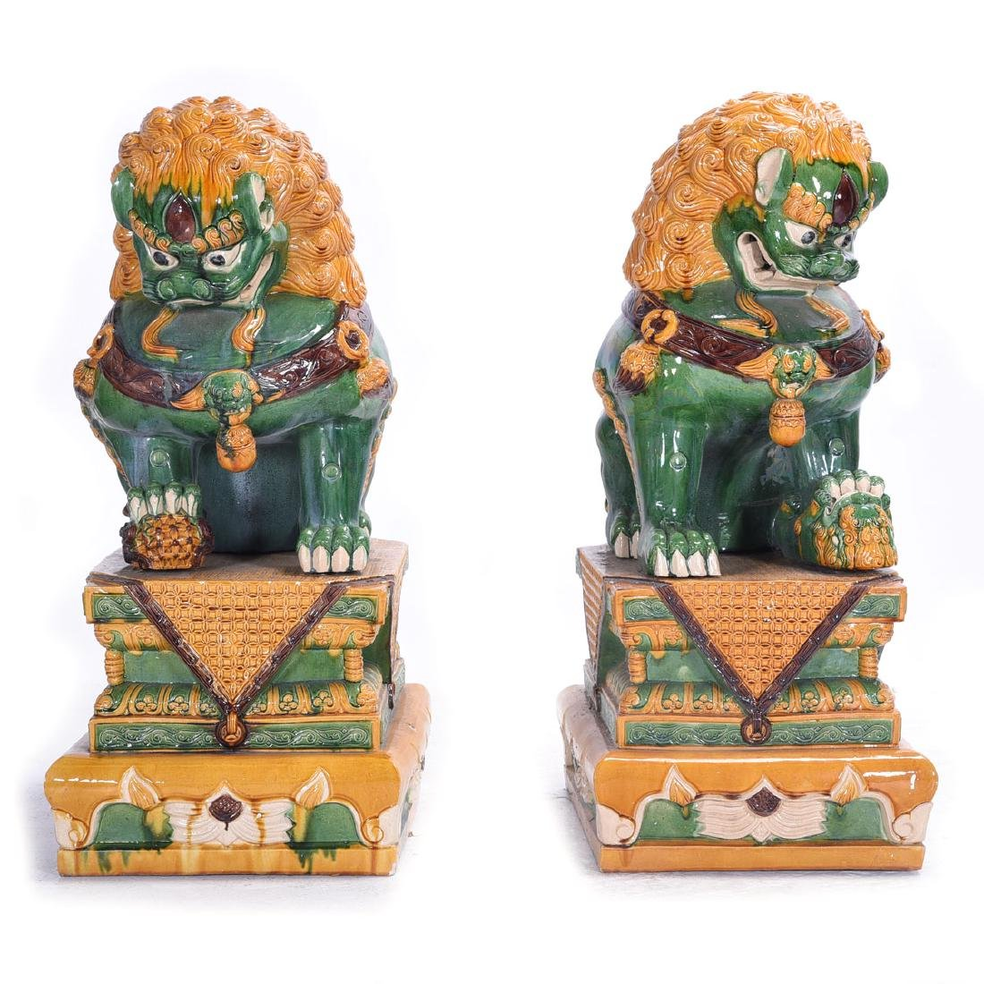 Pair of Massive Glazed Ceramic Guardian Lions