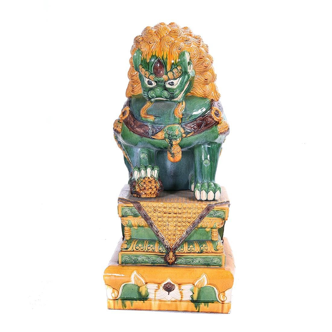 Pair of Massive Glazed Ceramic Guardian Lions - 2