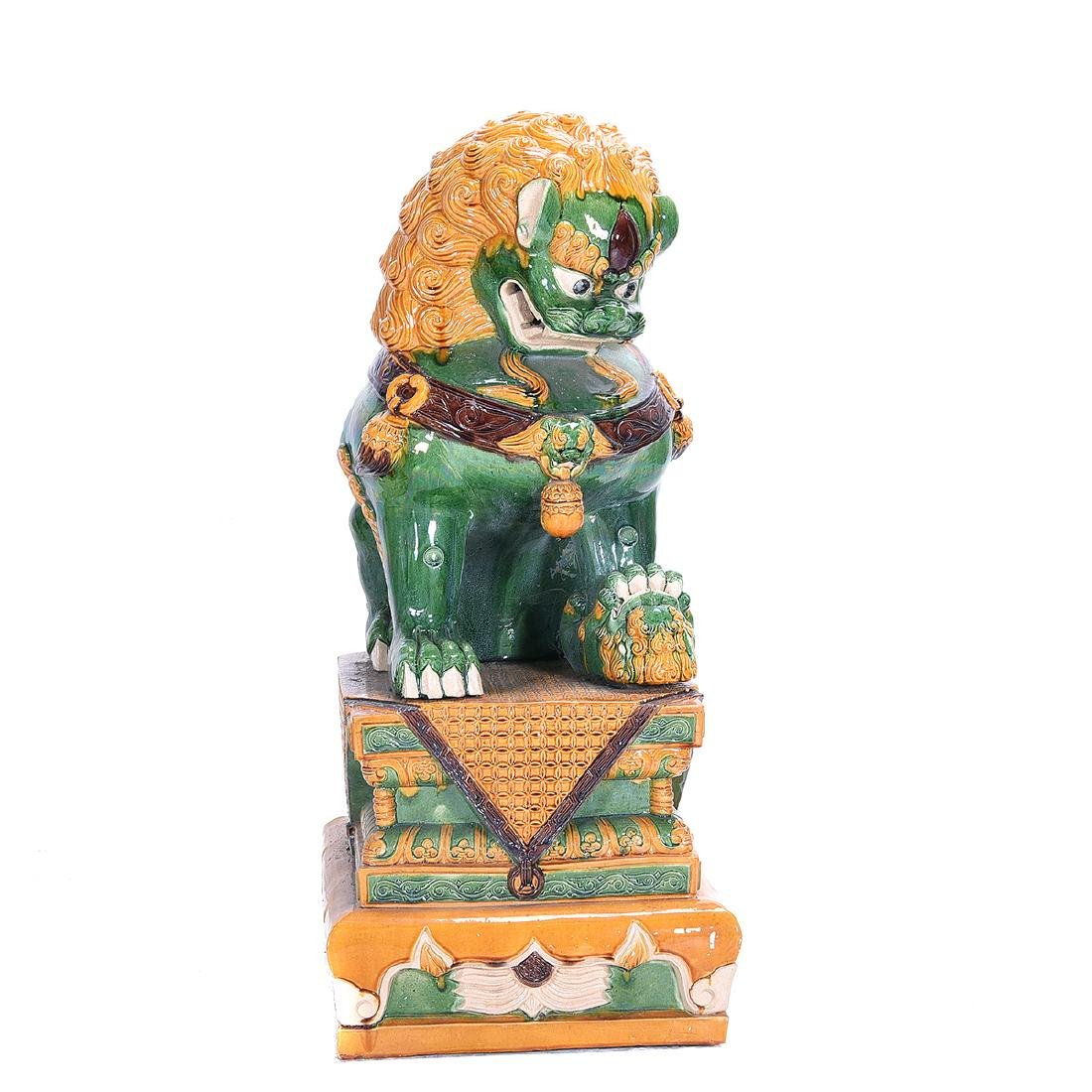 Pair of Massive Glazed Ceramic Guardian Lions - 3