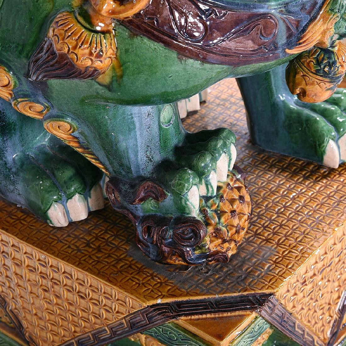 Pair of Massive Glazed Ceramic Guardian Lions - 5