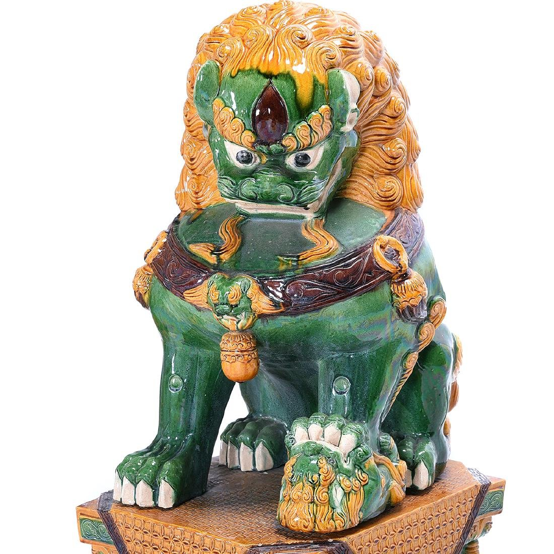 Pair of Massive Glazed Ceramic Guardian Lions - 6