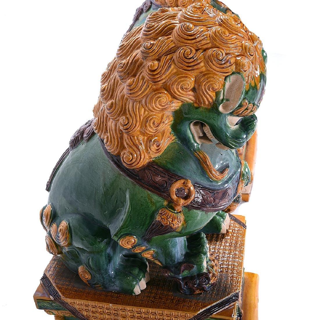 Pair of Massive Glazed Ceramic Guardian Lions - 8