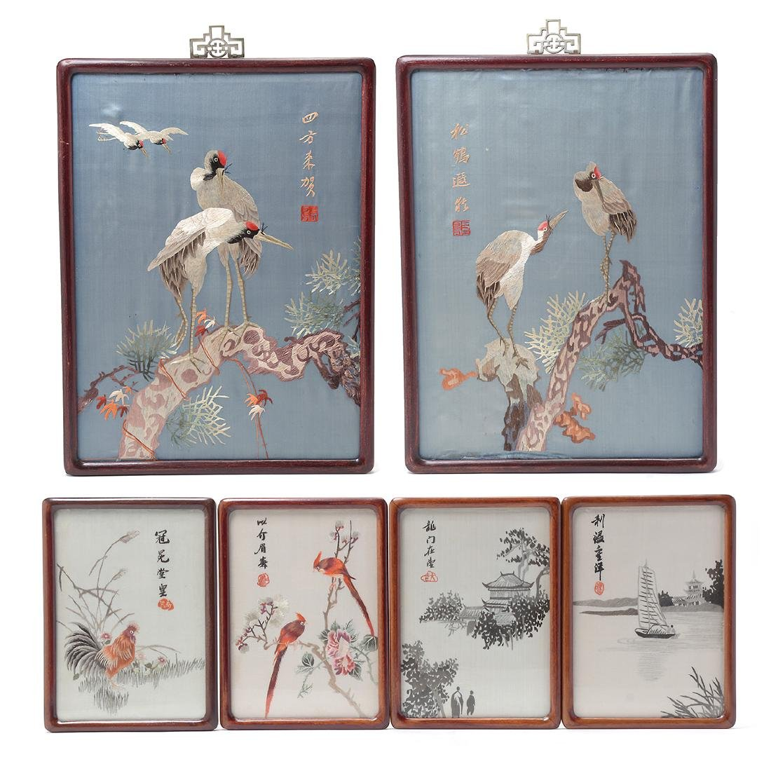 Six Embroidered Wall Panels