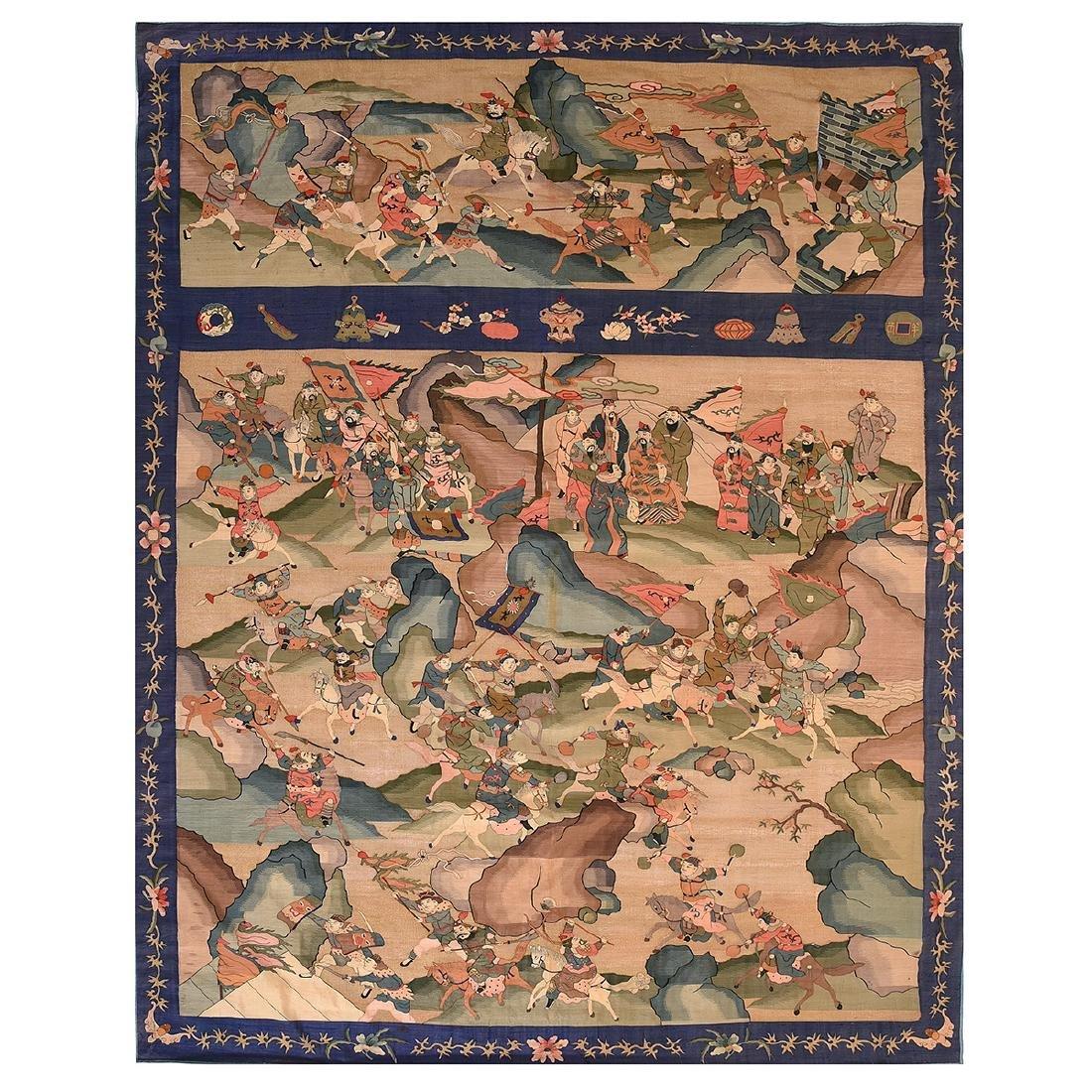 Kesi Woven Tapestry Panel of Battle Scene