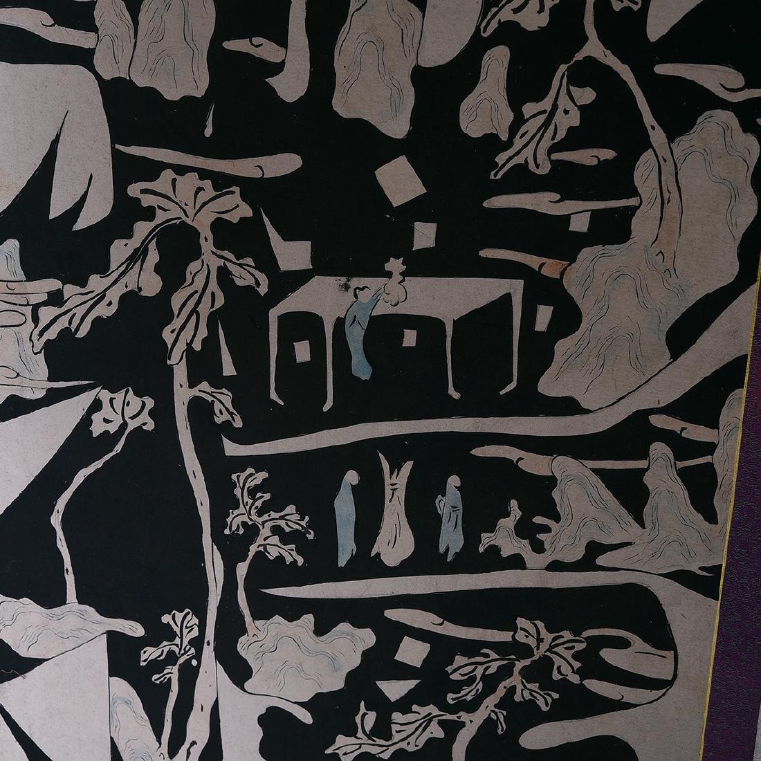 Pair of Korean Painted Folding Screens - 4