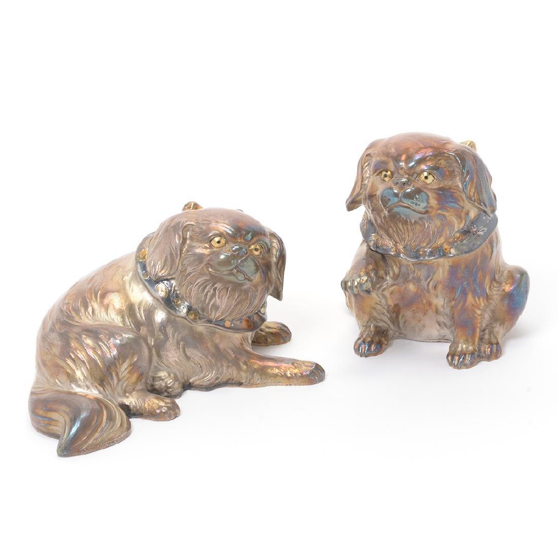 Pair of Japanese Silver Models of Pekingese