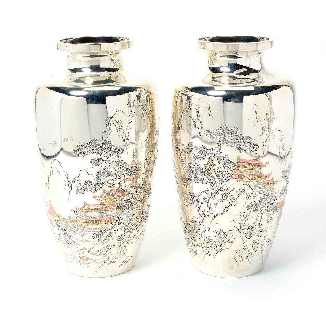 Pair of Japanese Silver Vases, Meiji Period
