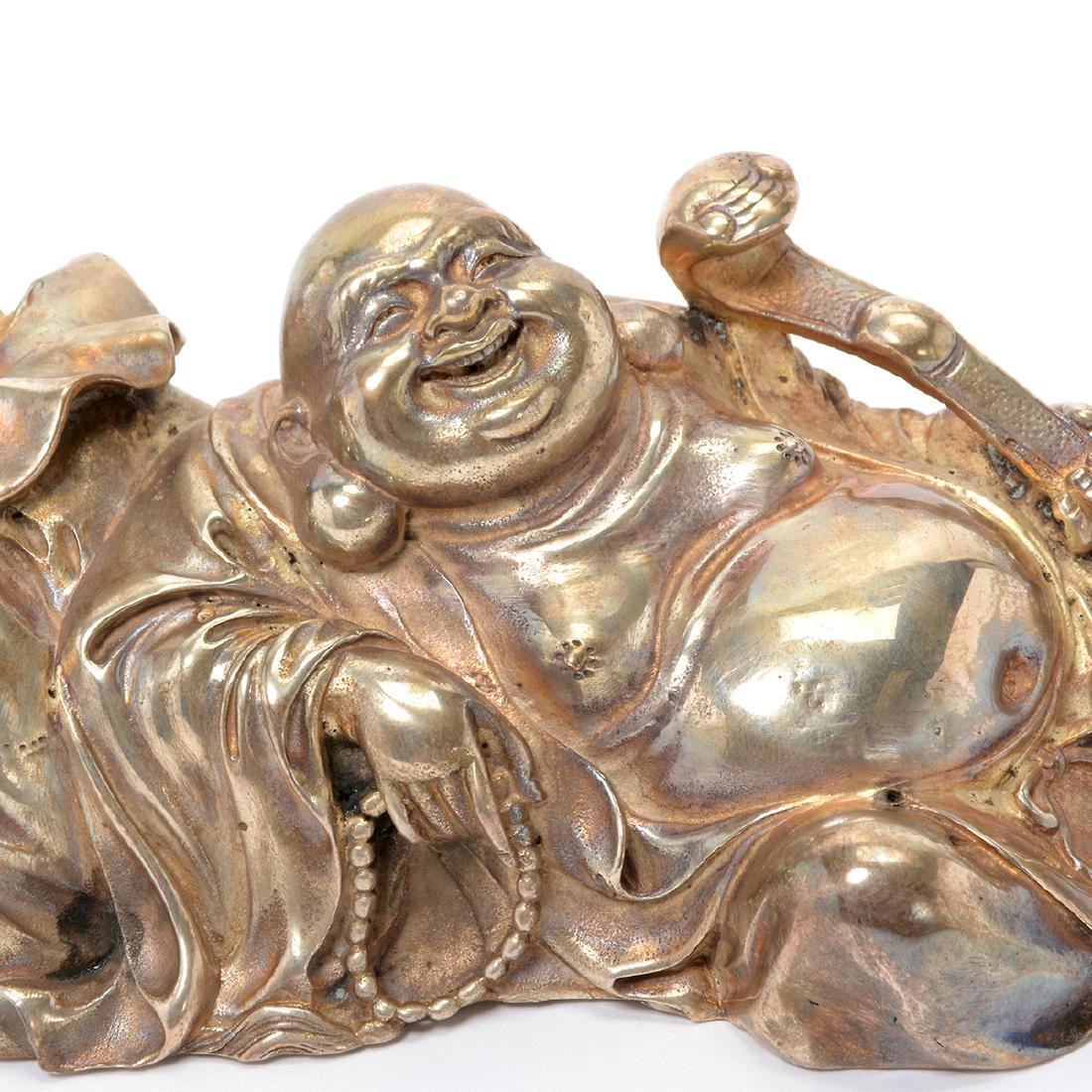 Japanese Silver Figure of Hotei - 5