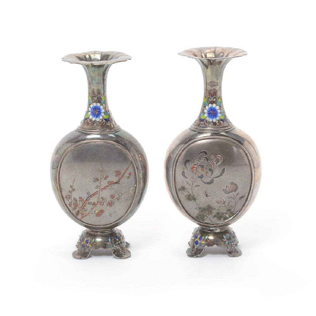 Pair of Small Japanese Enameled Silver Vases