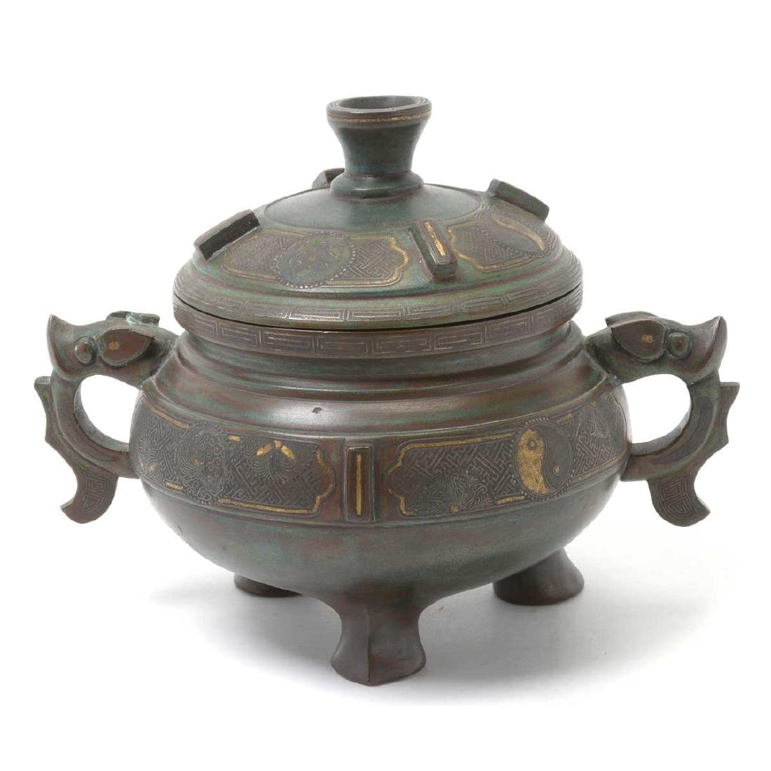 Japanese Tripod Censer with Silver Inlay, Meiji Period