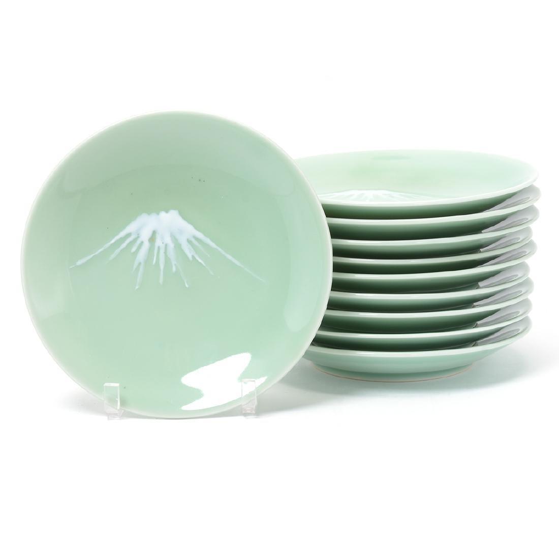 10 Nambeshima Celadon Glazed Porcelain Plates