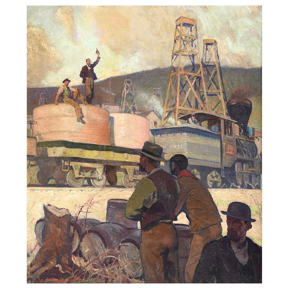 "Oscar Frederick Schmidt ""Railroad Workers"" oil on"