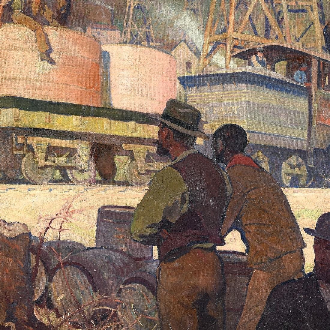 "Oscar Frederick Schmidt ""Railroad Workers"" oil on - 3"