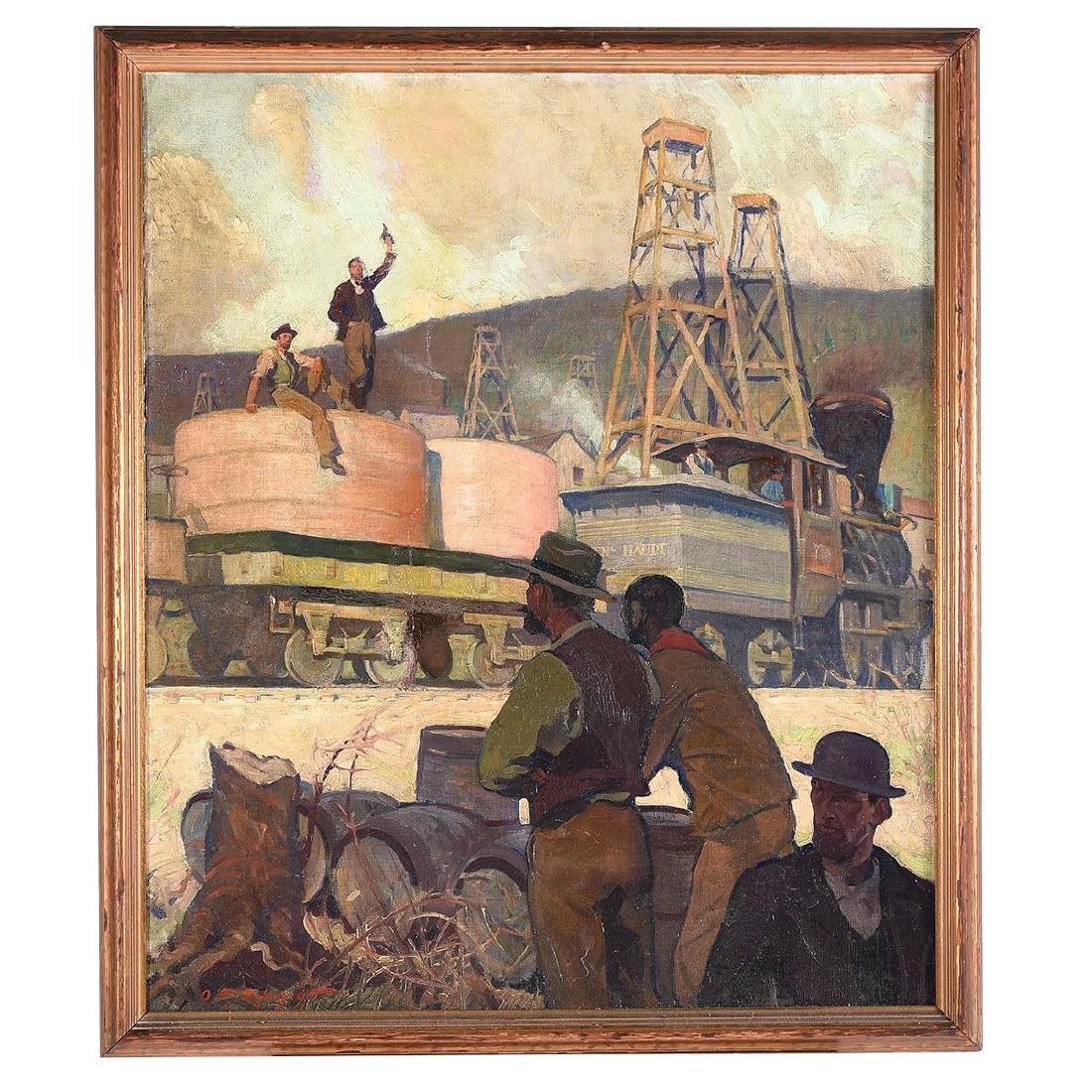 "Oscar Frederick Schmidt ""Railroad Workers"" oil on - 4"
