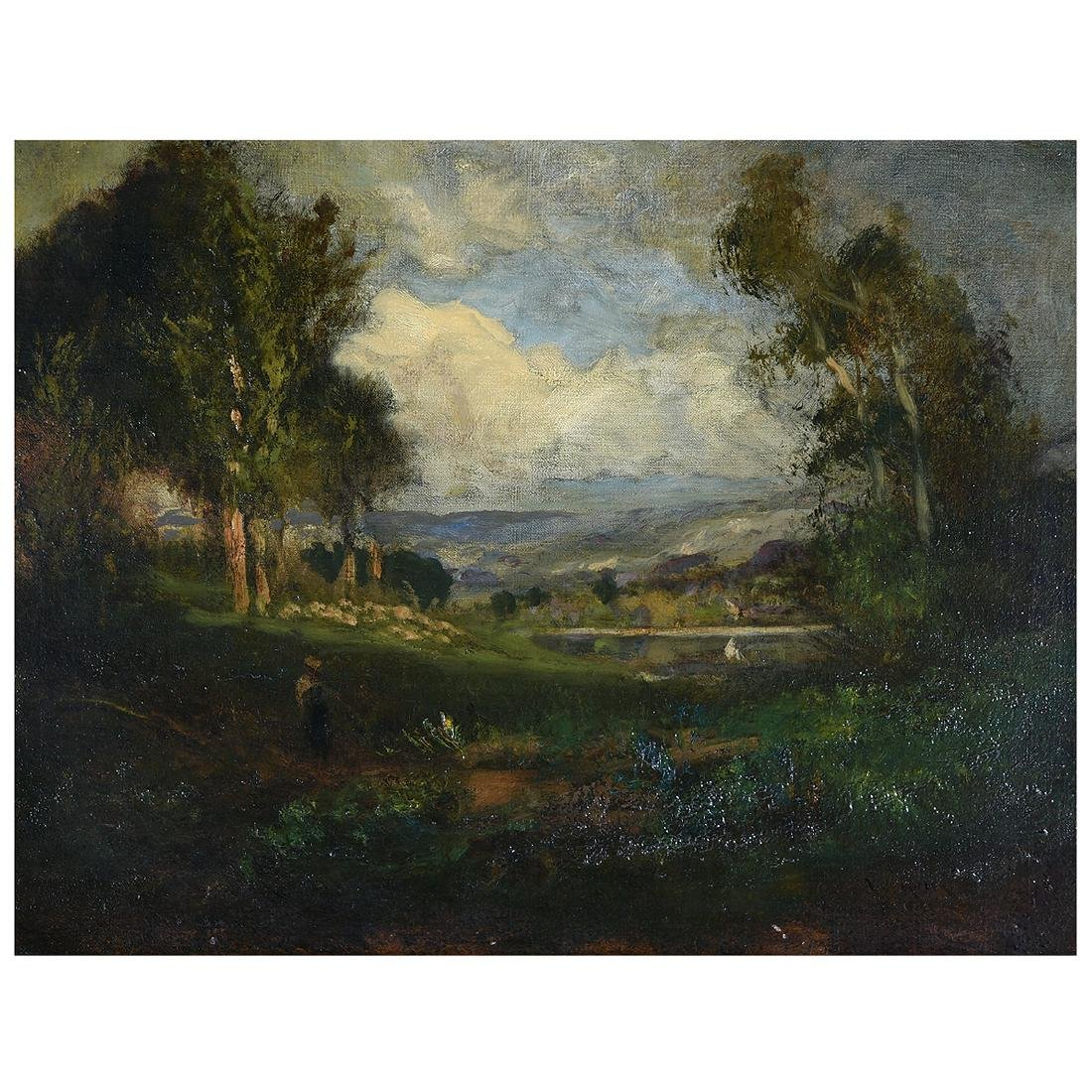 "William Keith ""Landscape with Lake"" oil on canvas,"