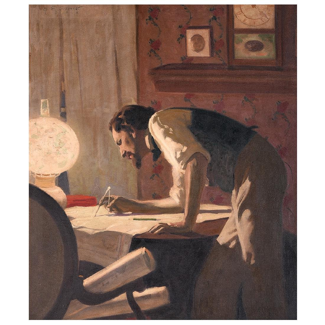 "Oscar Frederick Schmidt ""Draftsman"" oil on canvas"