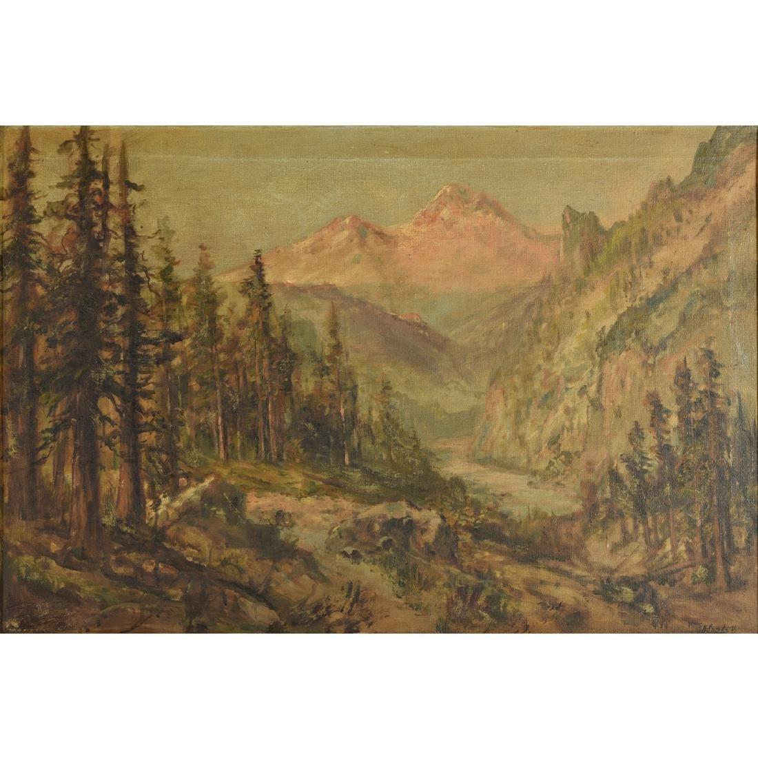 "Frederick Schafer ""Mountain Landscape"" oil on canvas"