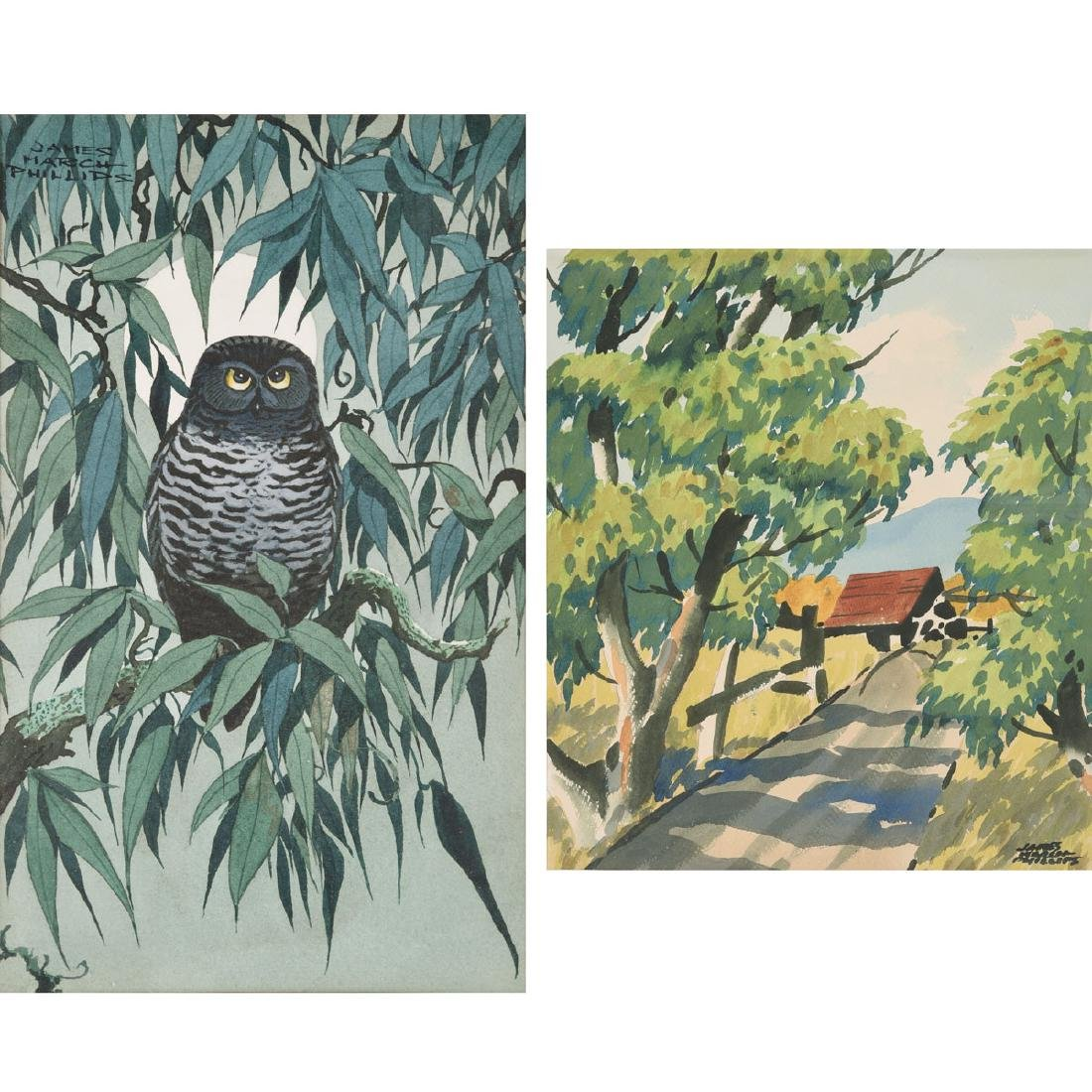 """James March Phillips """"Little Owl in a Willow Tree"""", &"""