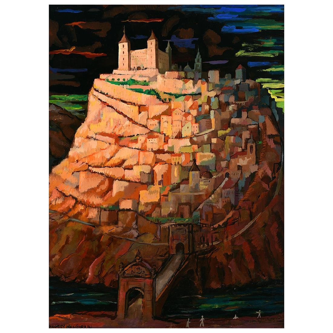 "Buckley Macgurrin ""Vista de Toledo"" oil on masonite"