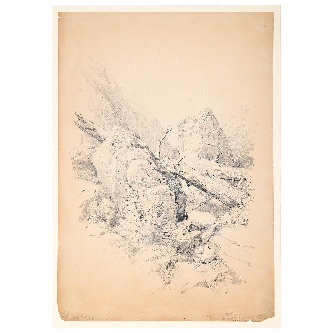 "Louis Eilshemius ""No. 12 Loch Calame"" pencil on paper"