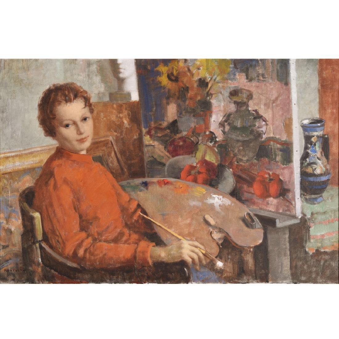 """Bela Kontuly """"Woman at Easel"""" oil, Hungarian Art"""