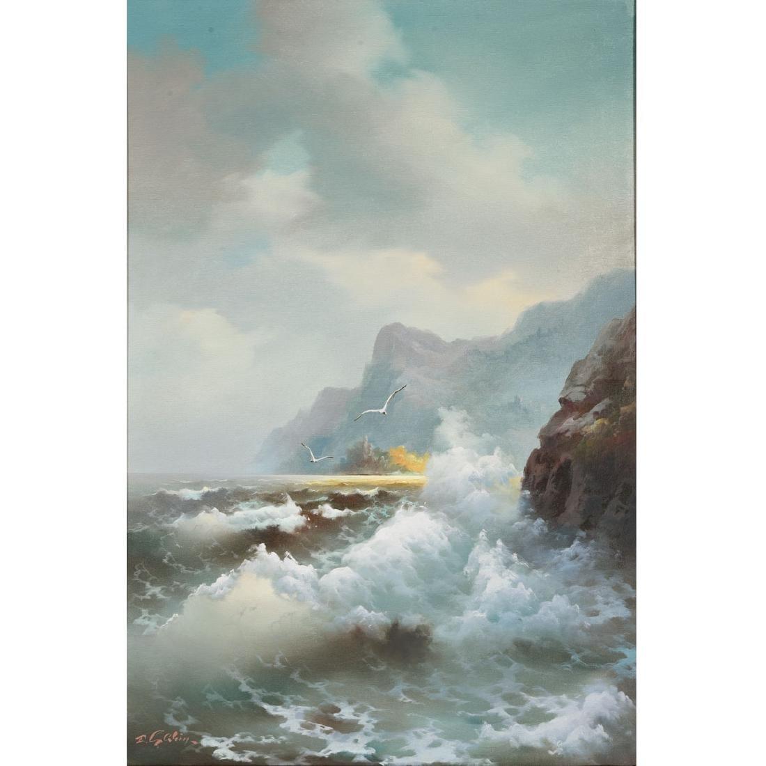 "Eugene Garin ""Seascape"" oil on canvas"
