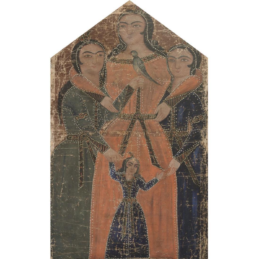 "Qajar School ""Maiden with Attendants"" oil on linen"