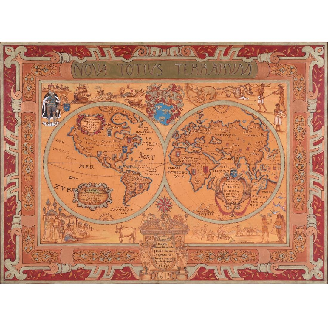 European School 20th century copy of a 1613 map painted