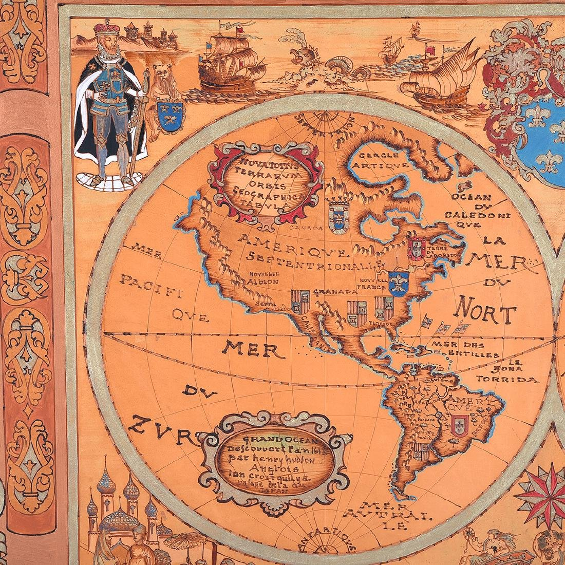 European School 20th century copy of a 1613 map painted - 2