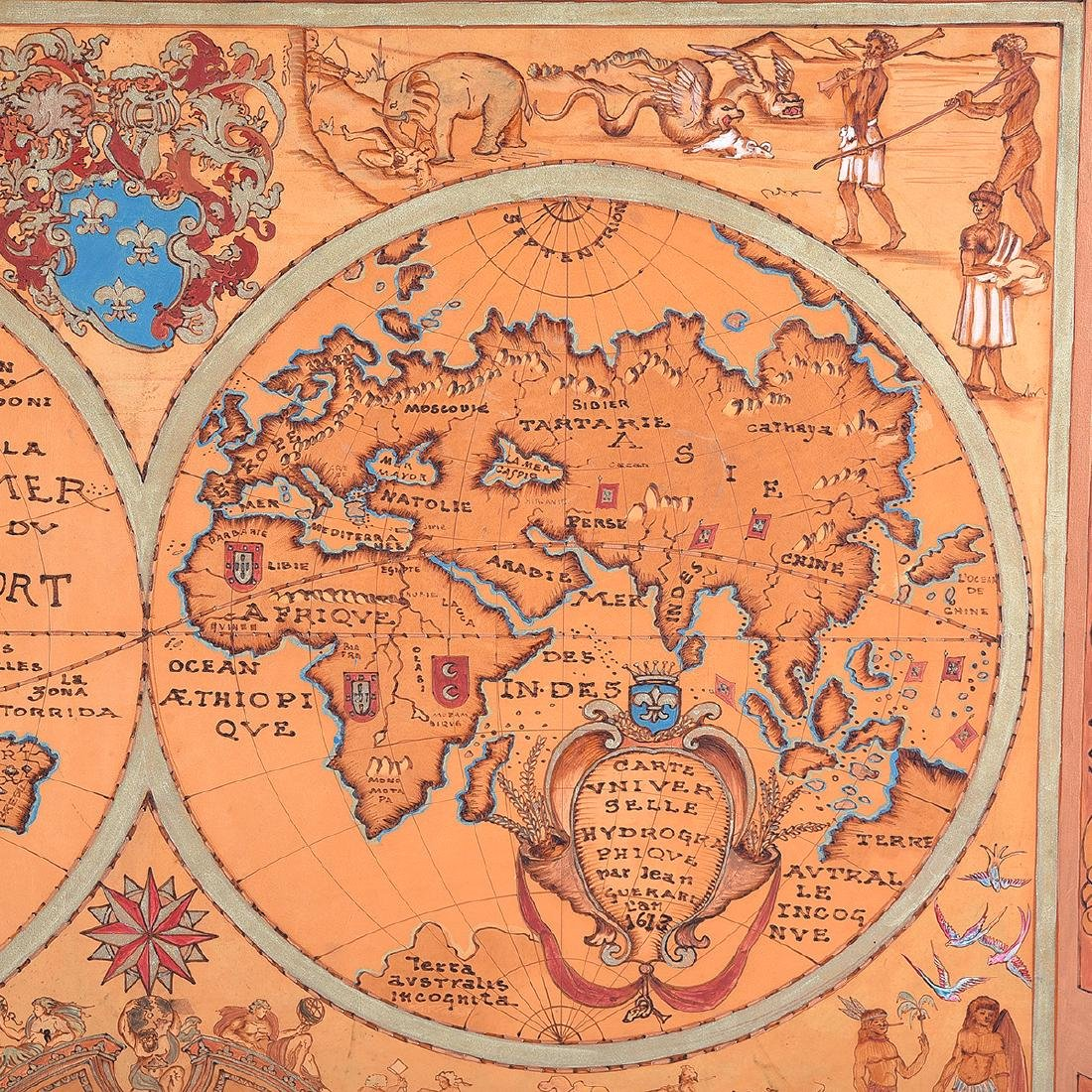 European School 20th century copy of a 1613 map painted - 3
