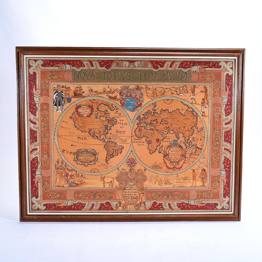 European School 20th century copy of a 1613 map painted - 5