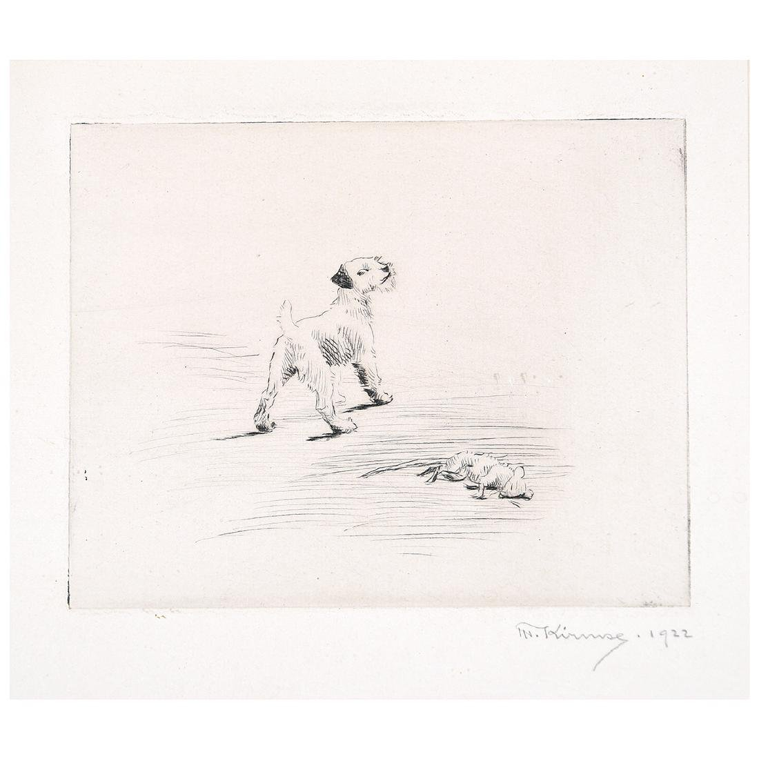 "Marguerite Kirmse ""His First Kill"" drypoint etching"